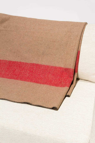 Blanket Classic Wool Washable Tan + Red Stripes
