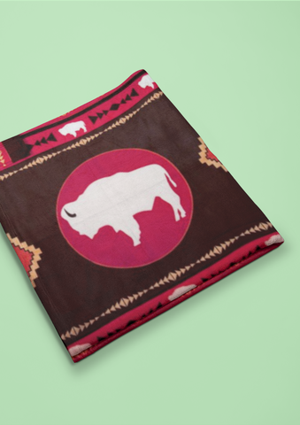 White Buffalo - Blanket Authentic Native American Pattern Design by Arkground