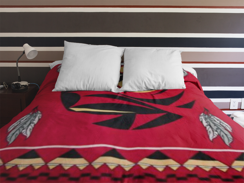 Raven™ - Fleece Blanket Authentic Native American Pattern - ARKGROUND COUTURIER