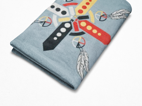 Image of Four Directions  - Fleece Blanket Authentic Native American Pattern Design™ - ARKGROUND COUTURIER