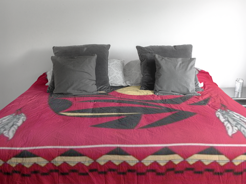 Image of Raven - Blanket Authentic Native American Pattern Design by Arkground