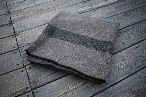 Blanket Classic Wool Washable Gray + Dark Stripes