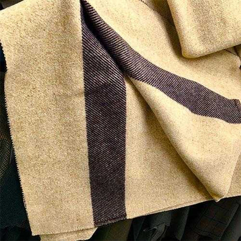 Wool Blanket Classic Washable Tan + Dark Stripes™ - ARKGROUND COUTURIER