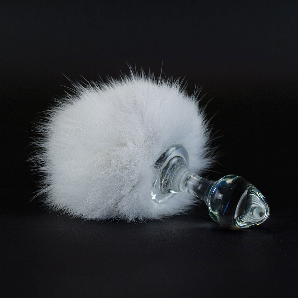 Gray Crystal Delights Magnetic Bunny Tail  - White