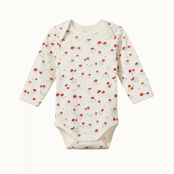 Nature Baby Cotton Long Sleeve Bodysuit / Mushroom Valley Print