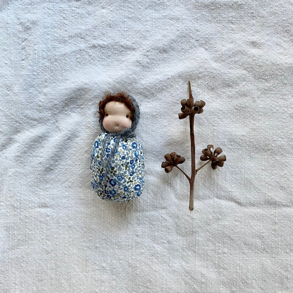 Pocket Baby / Blue Hat & Flowers