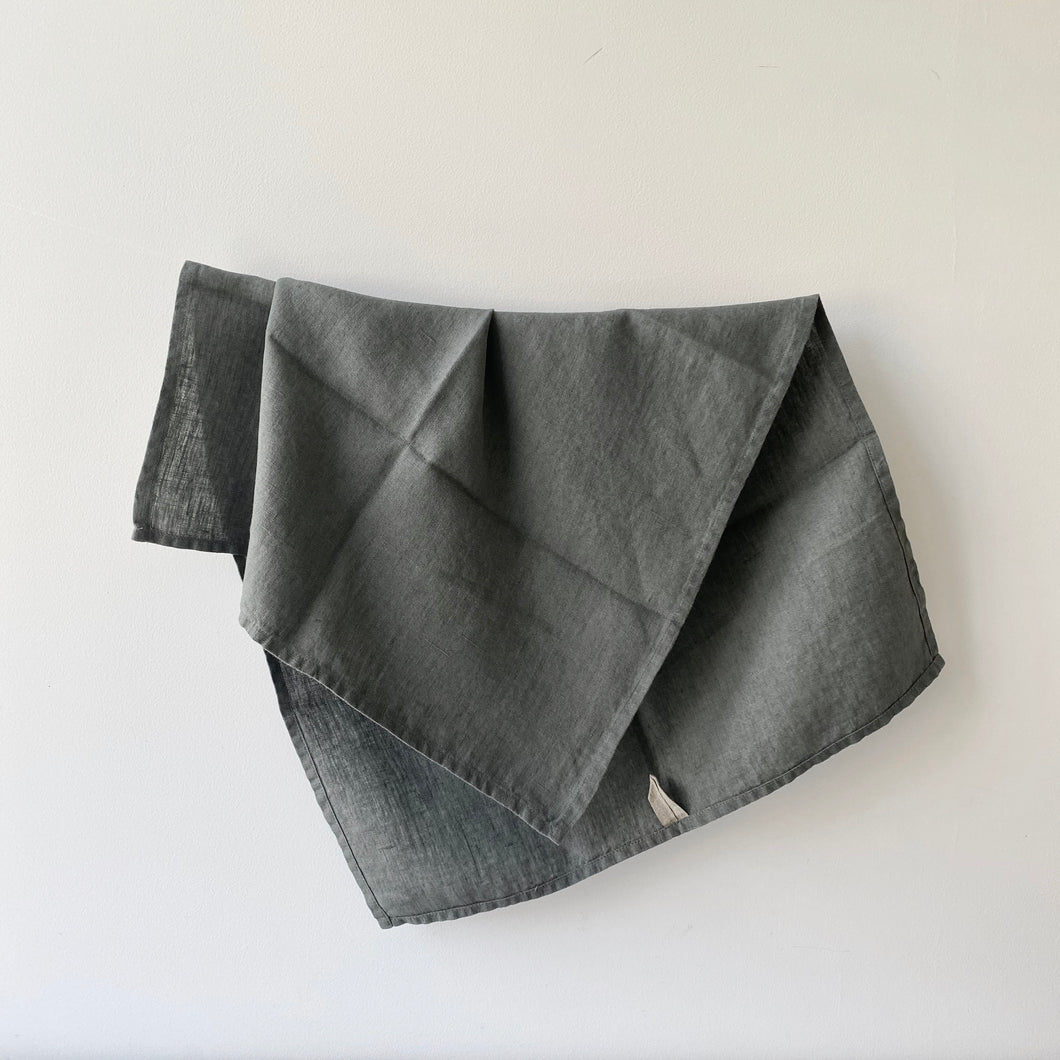 Linen Tea Towel / Olive Grey
