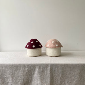 Toadstool Wool Felted Box / Pink