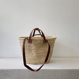 French Market Basket with Long and Short Handle