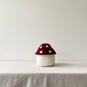Toadstool Wool Felted Box / Red