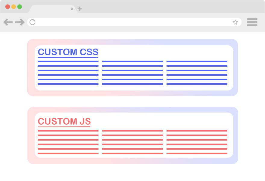 Custom CSS and JS of your landing page to bring more colorful content and complex layout