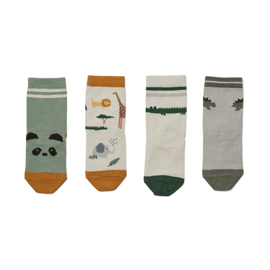 Silas Cotton Socks 4 Pack - Safari Sandy Mix