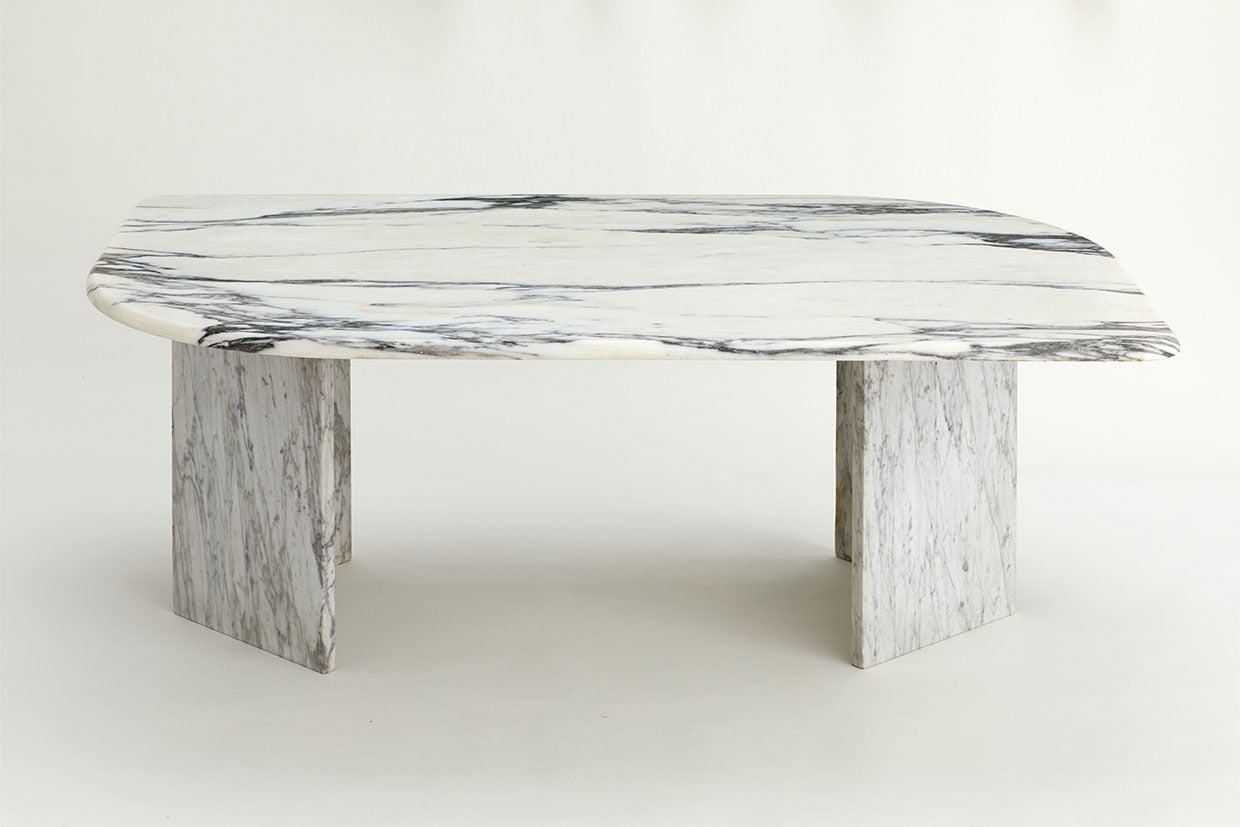 1970s Vintage Carrara Marble Retro Shaped Coffee Table Au Bespoke