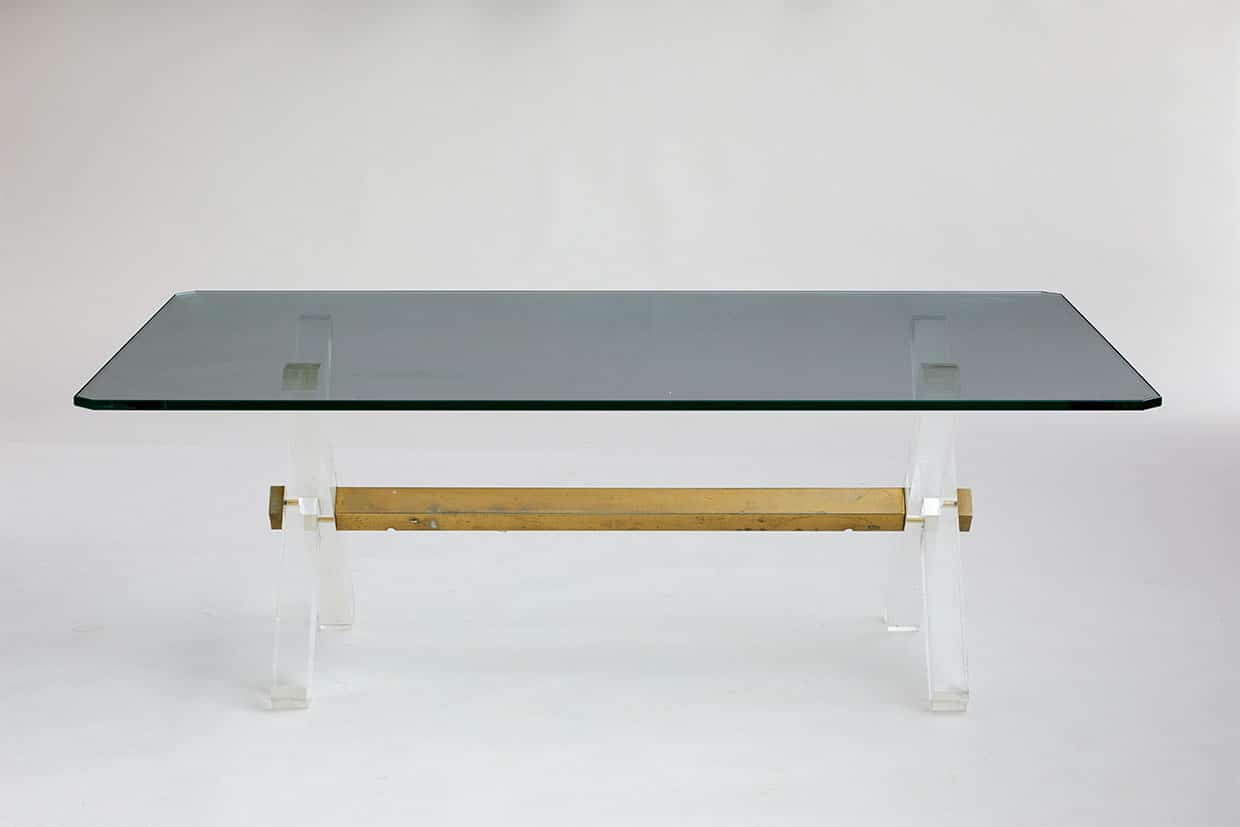 Italian Glass Coffee Table.Italian Glass Lucite And Brass Coffee Table