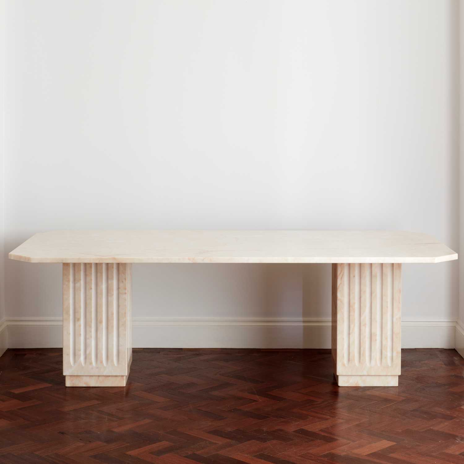 Vintage Willy Rizzo Style Pale Peach Marble Dining Table Au Bespoke