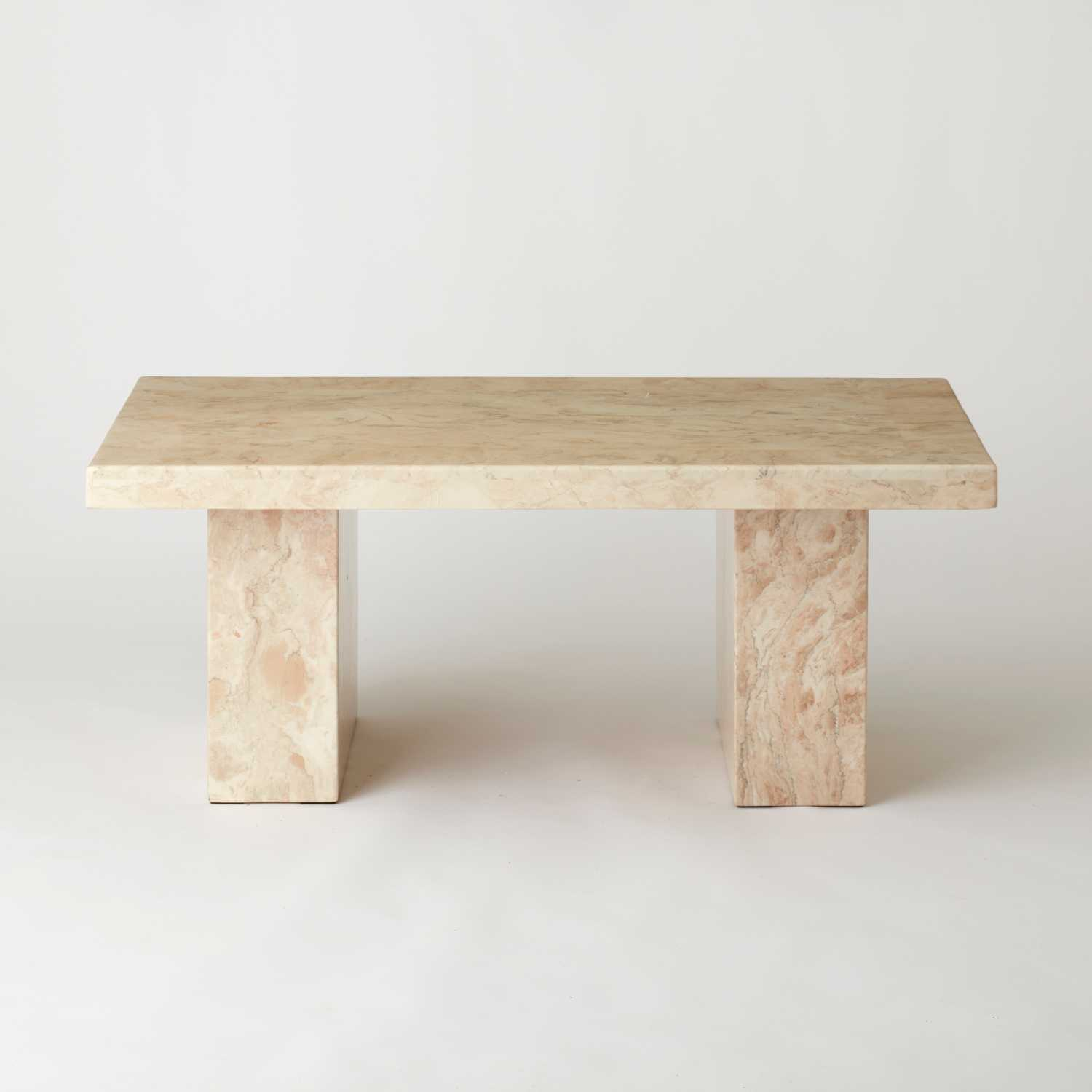 Vintage Creamy White Marble Coffee Table Au Bespoke