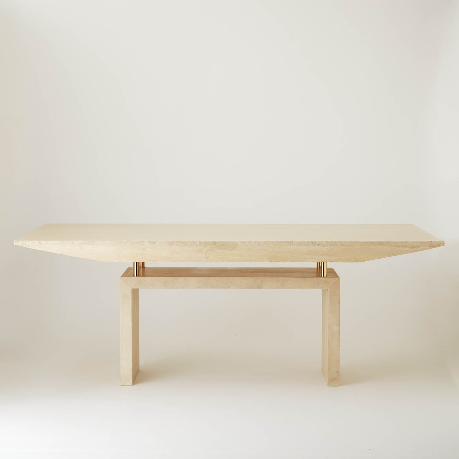 Vintage Cream Marble Dining Table With Brass Supports Au Bespoke