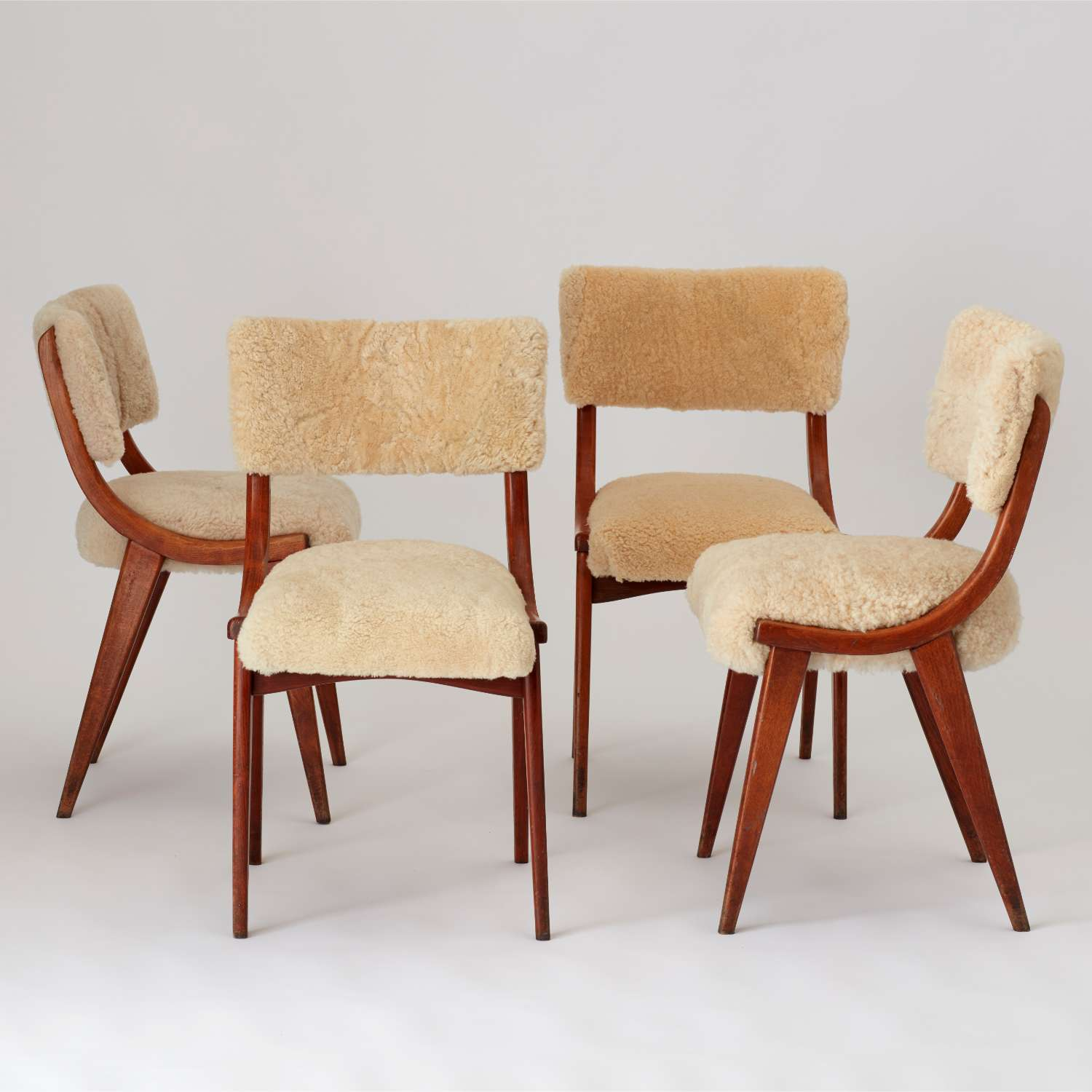 Set of four vintage Danish chairs hand upholstered in recycled sheepskin AU Bespoke