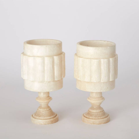 Pair of Vintage Marble Hand Carved Table Lamps