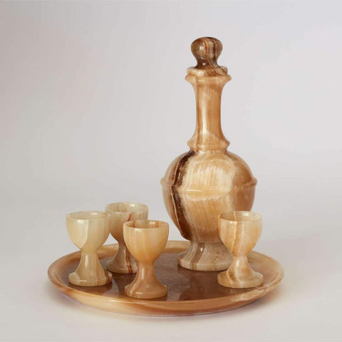 Vintage Onyx Decanter, Glasses and Tray