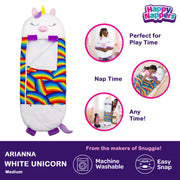 Happy Nappers™ Play Pillow & Sleepy Sack For Kids - MEDIUM - White Unicorn