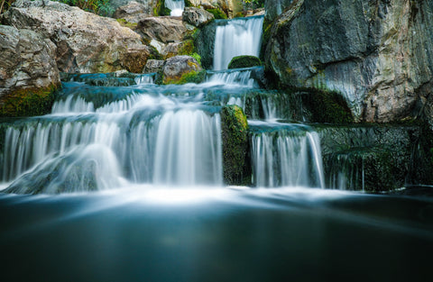 Flowing natural rock waterfall