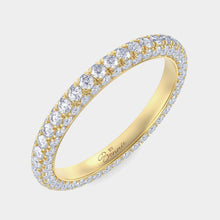 Load image into Gallery viewer, White Gold 3 Row Pave Diamond Band