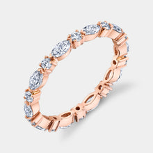 Load image into Gallery viewer, Rose Gold Marquise and Round Diamond Eternity Band