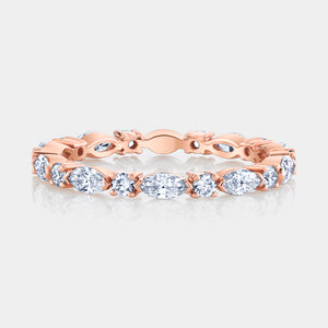 Rose Gold Marquise and Round Diamond Eternity Band