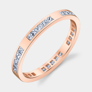 Rose Gold Channel Set Princess Cut Eternity Band