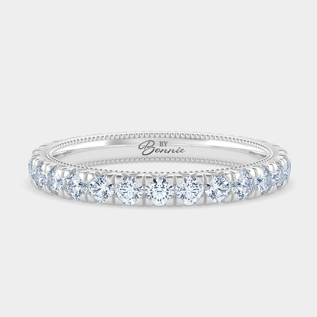French Pave Milgrain Diamond Eternity Band