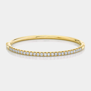 2ct Yellow Gold Pave Diamond Bangle