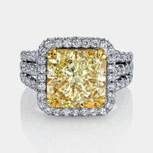 Load image into Gallery viewer, 9 ct Radiant Cut Fancy Yellow Diamond Ring