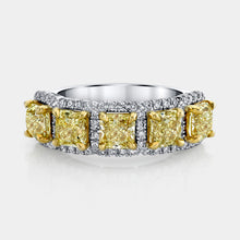Load image into Gallery viewer, 3 ct Fancy Yellow Radiant Cut Diamond 5 Stone Halo Band