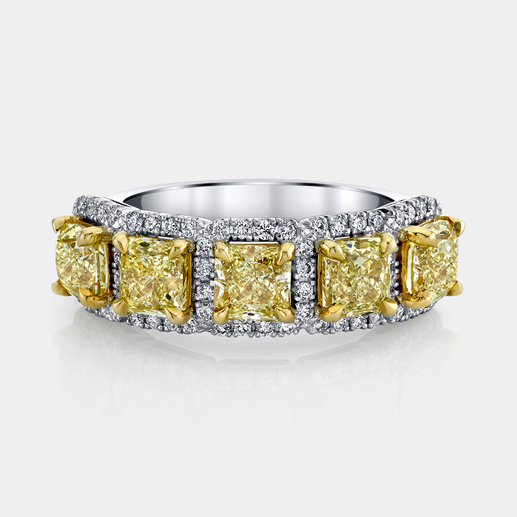 3 ct Fancy Yellow Radiant Cut Diamond 5 Stone Halo Band
