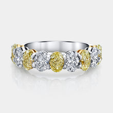 Load image into Gallery viewer, Oval Shape 9 Stone Fancy Yellow and White Diamond Band