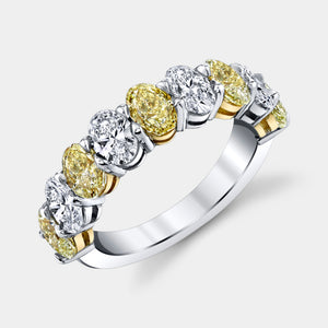 Oval Shape 9 Stone Fancy Yellow and White Diamond Band