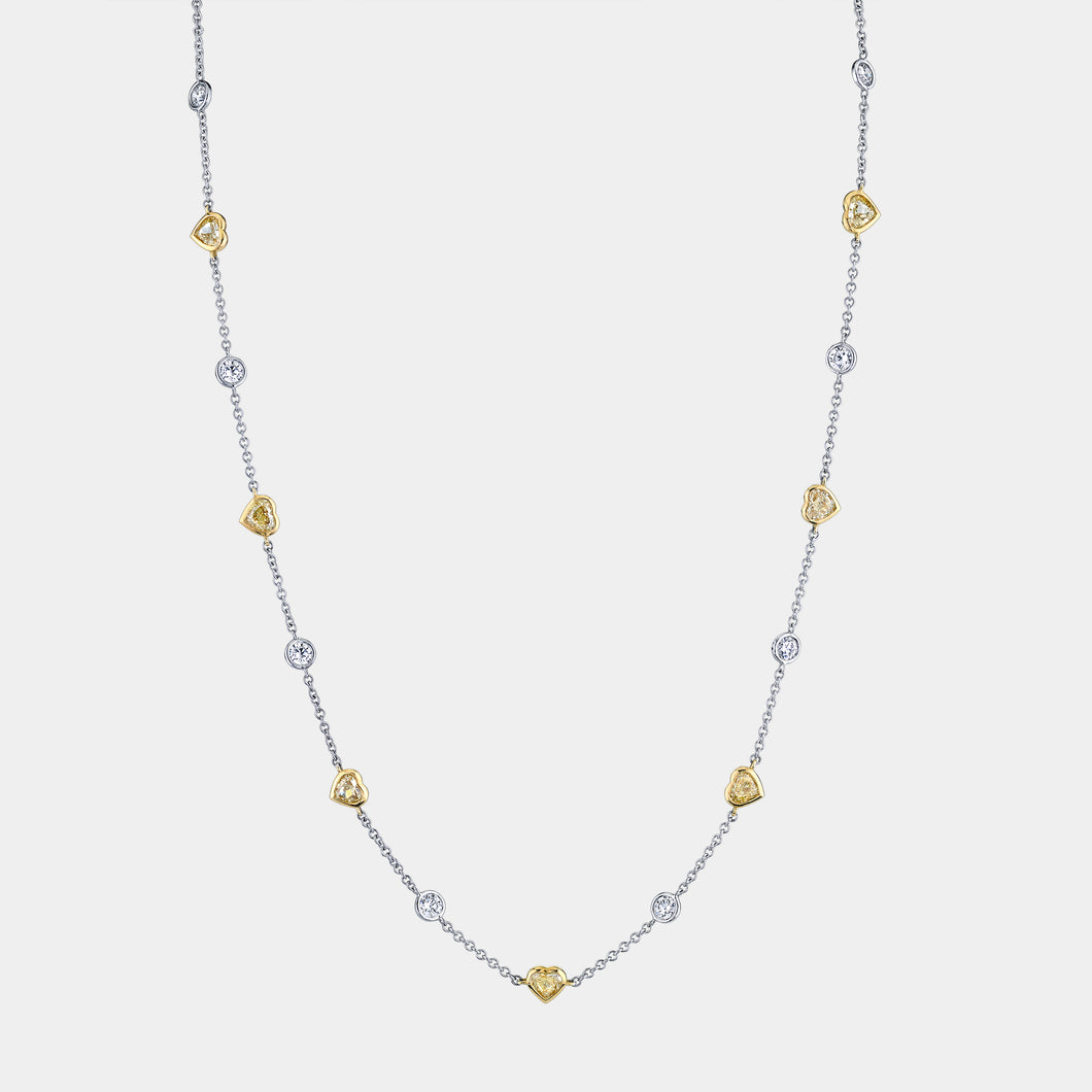 Fancy Yellow and White Station Diamond By The Yard Necklace