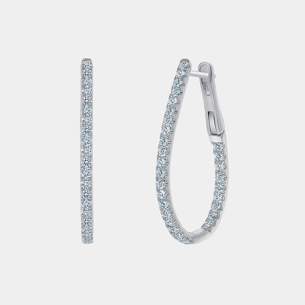 Pear Shape 1 ct Diamond Hoop Earrings