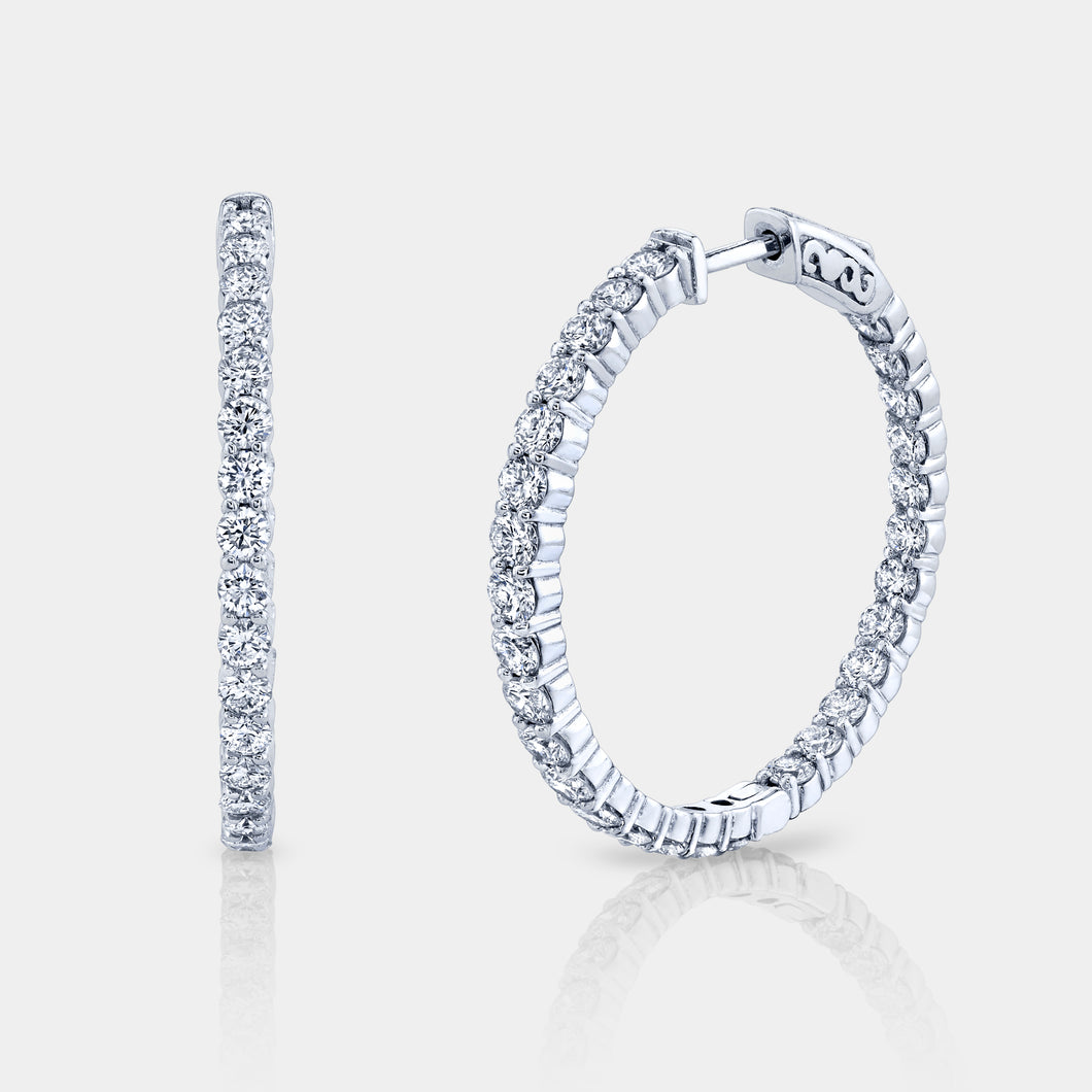 1.5 Inch 3 ct Diamond Hoop Earrings
