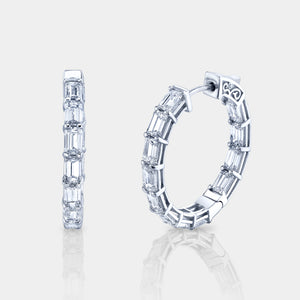 5 ct Emerald Cut Diamond Hoop Earrings