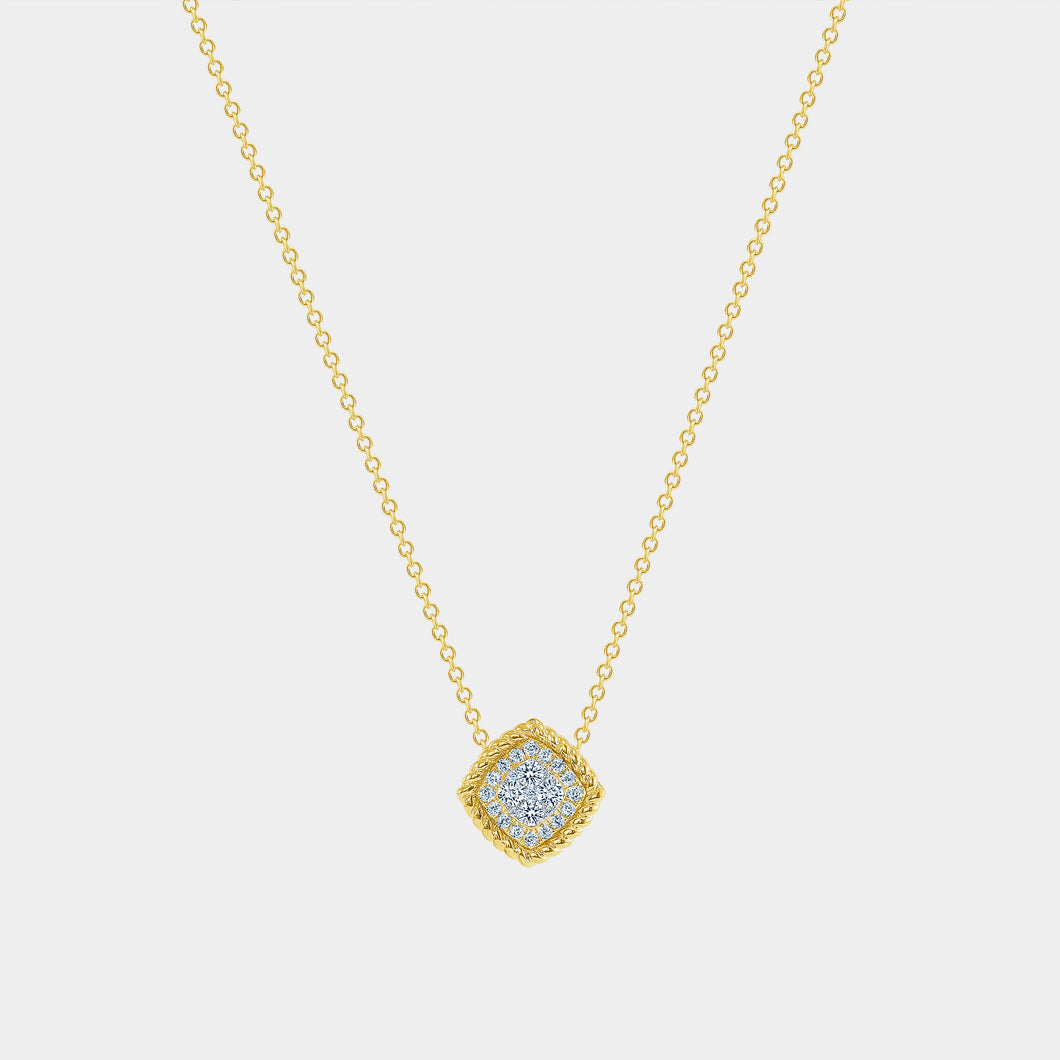 Yellow Gold Rope and Diamond Pendant