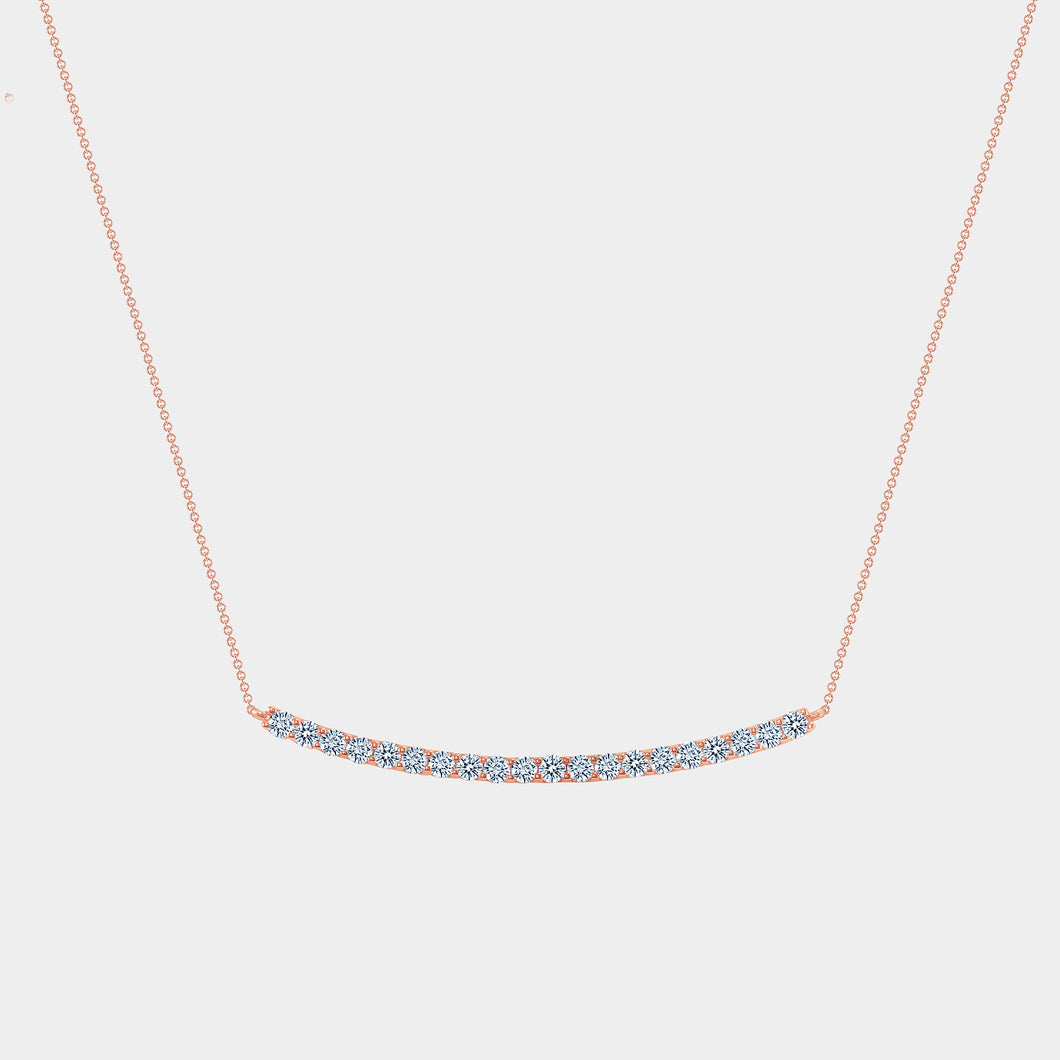 Rose Gold Diamond Bar Smile Necklace