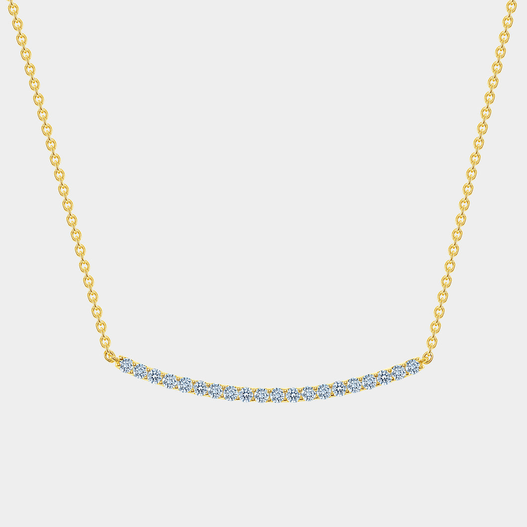 Yellow Diamond Diamond Bar Smile Necklace