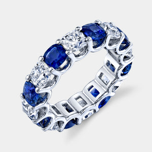 8 ct Cushion Cut Blue Sapphire and Diamond Eternity Band