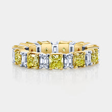 Load image into Gallery viewer, Radiant Cut Fancy Yellow Diamond Eternity Band