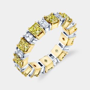Radiant Cut Fancy Yellow Diamond Eternity Band