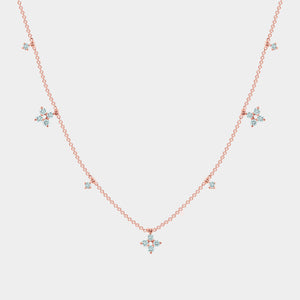 Rose Gold Clover Diamond Necklace