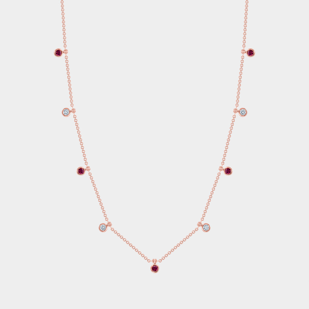 Rose Gold Diamond and Ruby Necklace
