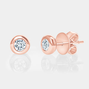 Rose Gold Bezel Set Diamond Studs